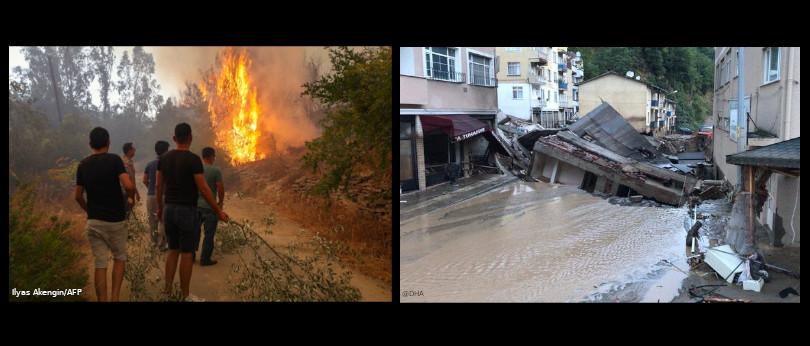 turquia fogo e inundações
